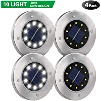 4-Pack DUUDO Newest 10 LED Garden Pathway Outdoor Waterproof Solar In-Ground Lights