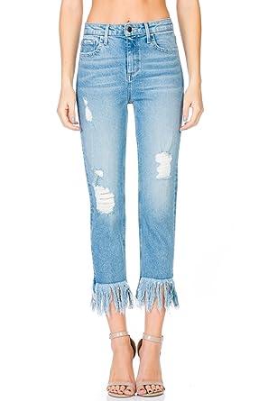 97d3c64b52 Cello Jeans High Rise Light Wash Straight w Fray Hem, Blue, 11 at ...