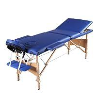Mecor Table de massage pliante Professionnelle Cosmétique 3 zones pliables Pieds en Bois Hauteur Réglable pour Thérapie/SPA avec Housse de Transport diverses couleurs au choix (Bleu)