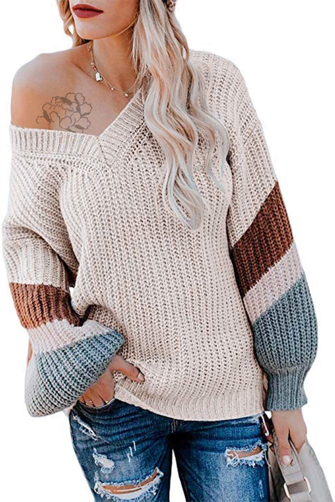 Oversized Boho Stars Off the Shoulder Knit Sweater Long Sleeves Loose Fit Women