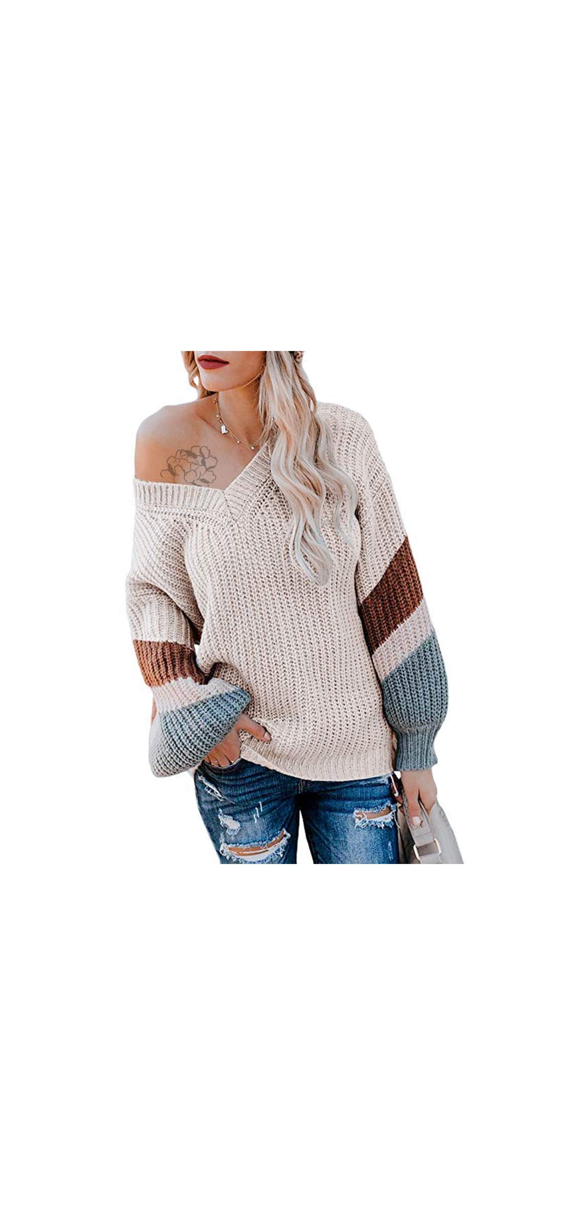 Womens Oversized Sweater Off Shoulder Pullover Sweater V