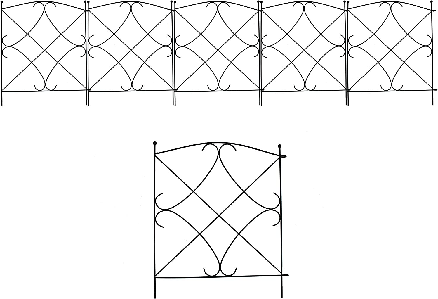 VOTENVO Decorative Garden Fence 18in x 6ft Outdoor Coated Metal Decorative Garden Square Fencing Panels Animal Barrier Outdoor Iron Edge Fencing for Landscape Folding Flower Bed Fence