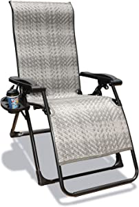 GOLDSUN Outdoor Wicker Zero Gravity Recliner Chair Adjustable Rattan Chaise Lounge Chair with Side Table for Garden Patio Beach Porch Swimming Poolside (Grey with Rectangle Leg)