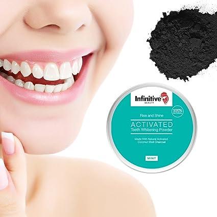 Polvo natural para blanquear los dientes con carbón activado y cáscara de coco de infinitivos Beauty