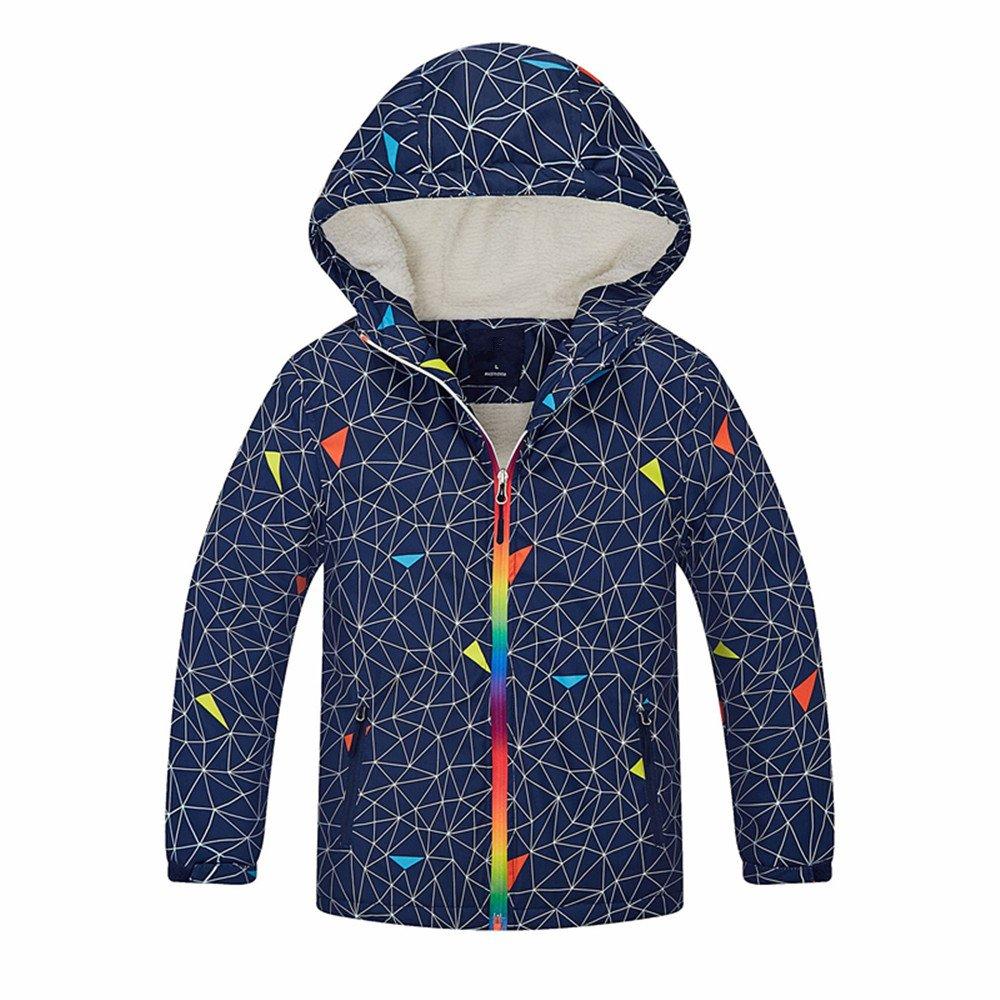 ZPW Boys' Colorful Outdoor Fleece Lining Windbreaker Rain Jacket with Hood