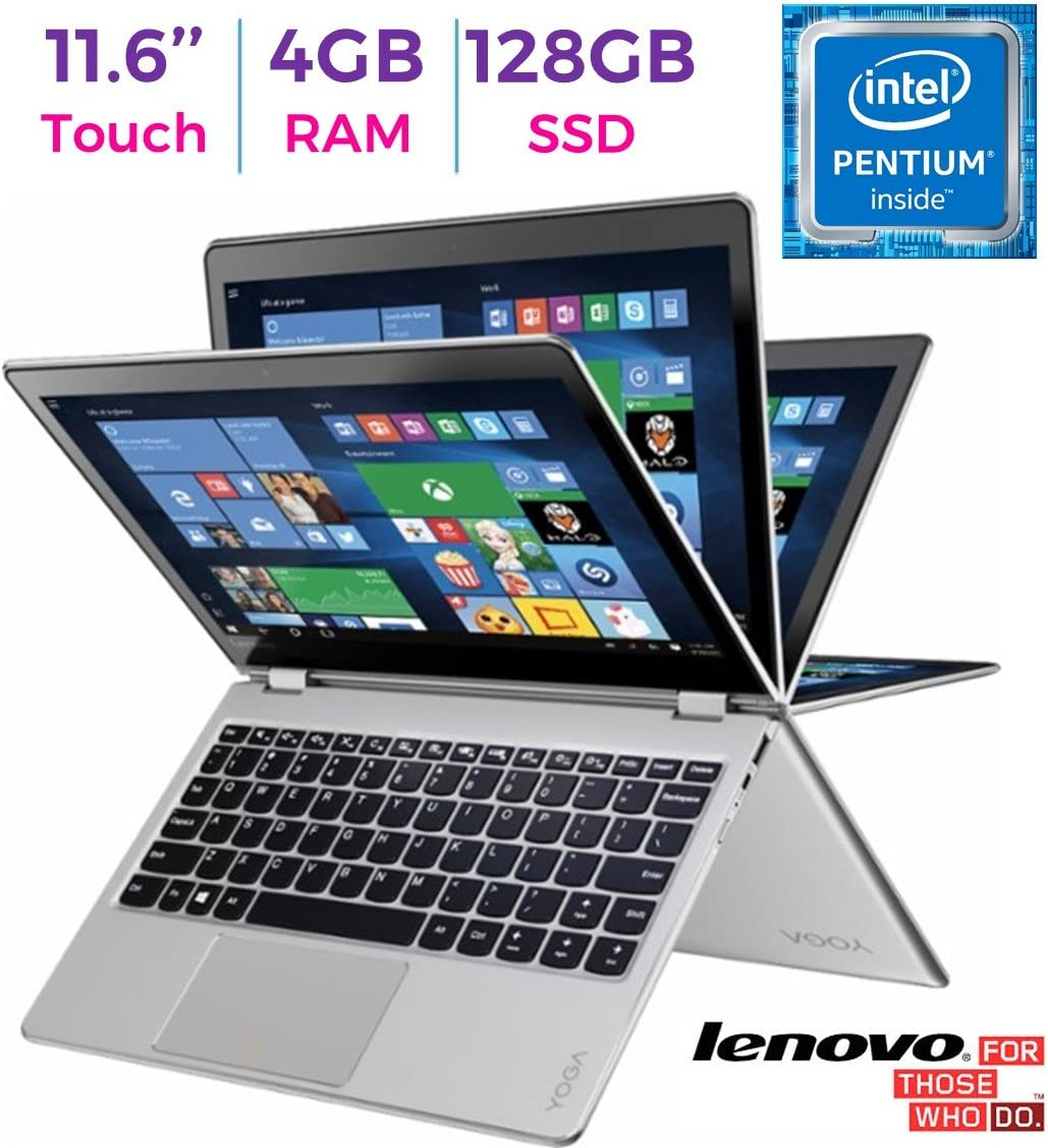 2017 Lenovo Yoga 710 11.6?? 2-in-1 IPS Touchscreen (1920 x 1080) Laptop PC, Intel Pentium Dual Core Processor, 4GB RAM, 128GB SSD, HD Graphics 615, Bluetooth, WIFI, HDMI, Windows 10, Silver