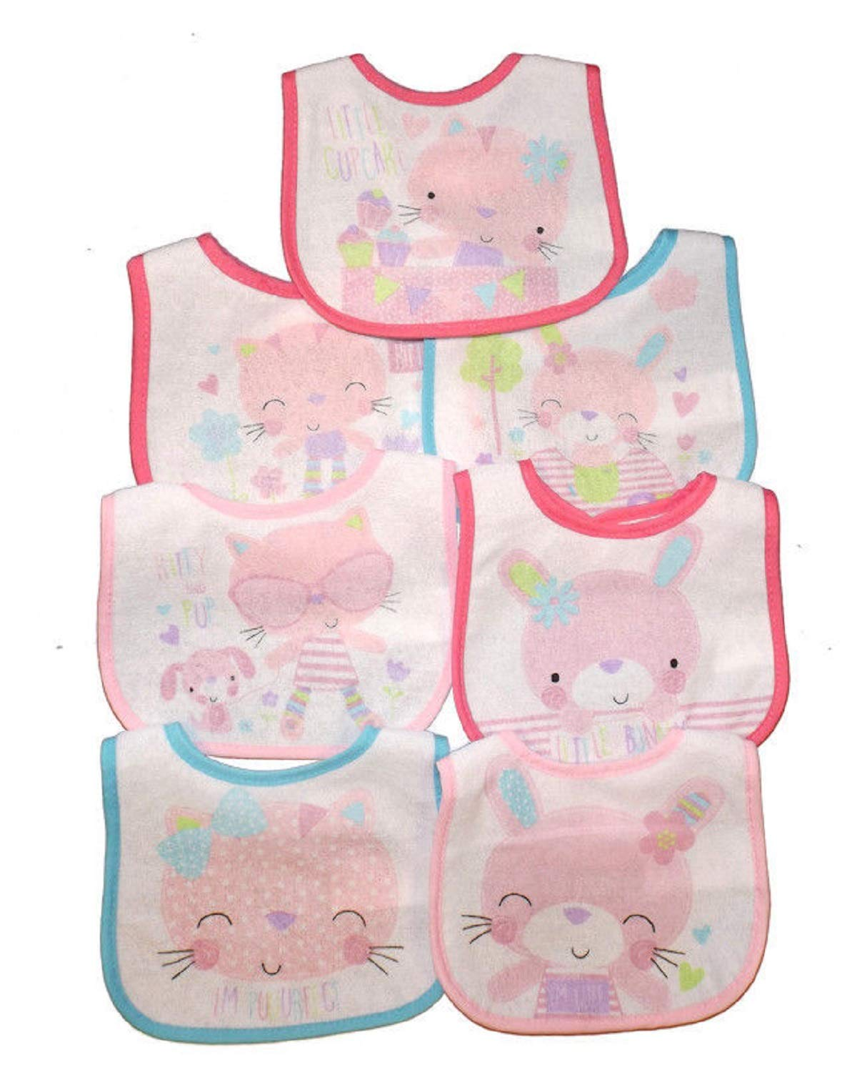 Baby Girl Bibs Days of the Week Waterproof 7 PACK