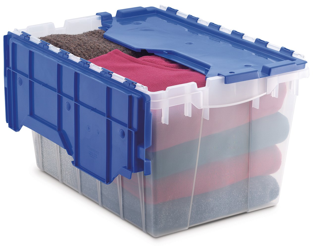 Akro-Mils 66486 CLDBL 12-Gallon Plastic Storage KeepBox with Attached Lid, 21-1/2-Inch by 15-Inch by 12-1/2-Inch, Semi Clear by Akro-Mils