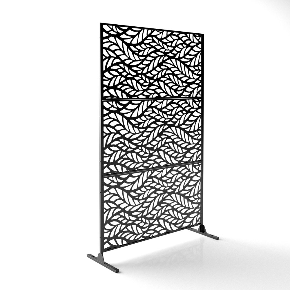 Veradek Flowleaf Decorative Screen Set w/Stand - Black