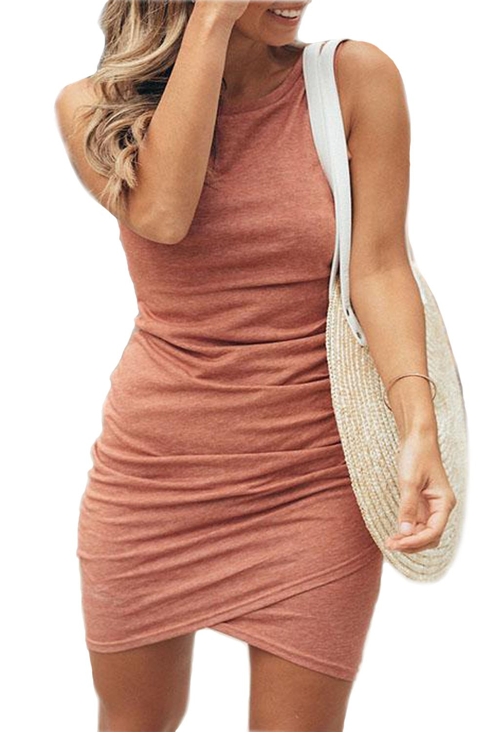 Walant Womens Short Sleeve Sheath Dress Solid Color Irregular Hem Summer Bodycon Mini Dress (L, X-Pink)
