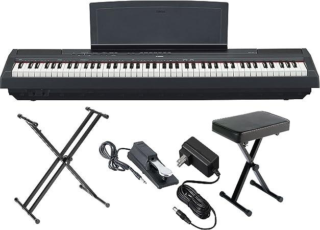 Yamaha P125B piano digital de acción pesada de 88 teclas con pedal de sustento, fuente de alimentación, soporte de teclado de doble soporte tipo X y ...