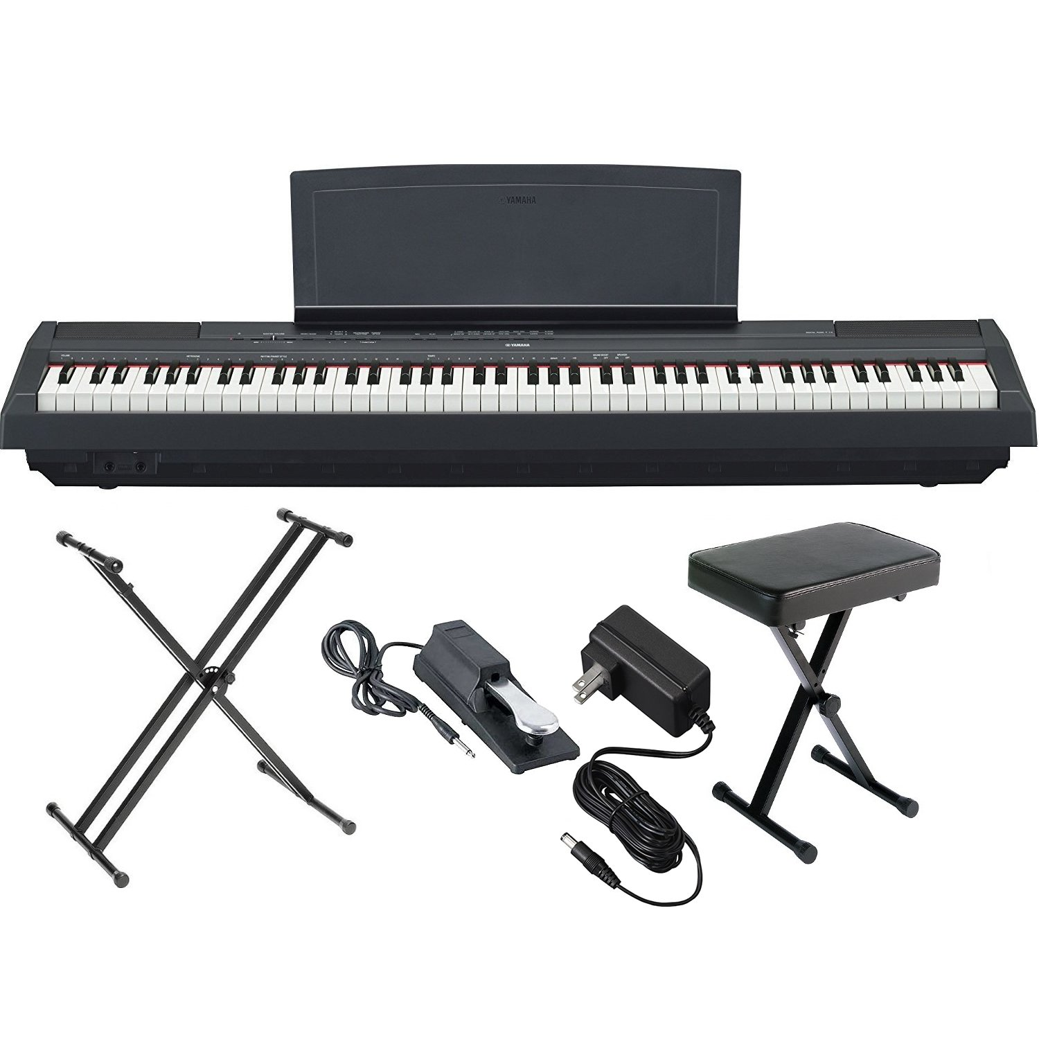 Yamaha P125B 88-Key Weighted Action Digital Piano with Sustain Pedal, Power Supply, Double-Braced X-Style Keyboard Stand, and Padded X-Style Piano Bench by Yamaha Genesis