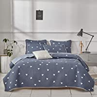 Uozzi Bedding 3 Piece Reversible Twin Quilt Set Blue Gray Soft Microfiber with White Triangles Lightweight Men Adult 102x90 in Coverlet Bedspread for All Season