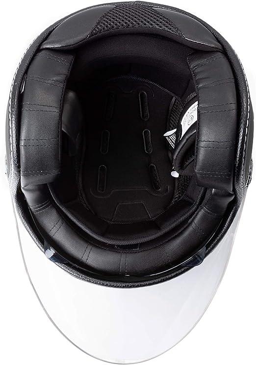 Casque Moto Jet City Retr/ò Homologu/é ECE 22-05 Double Visi/ère Scooter Blanc XS