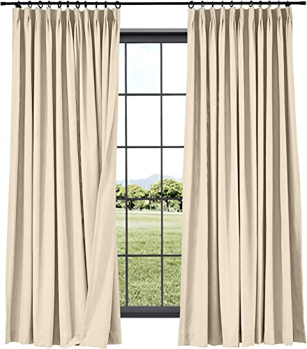 TWOPAGES Cotton Linen Curtain Drapery Decorative Curtain, 120 Inches Width x 84 Inches Length, Living Room Curtain, Room Darkening Pinch Pleat for Track Traverse Rod 1 Panel 7804-7 Gardenia