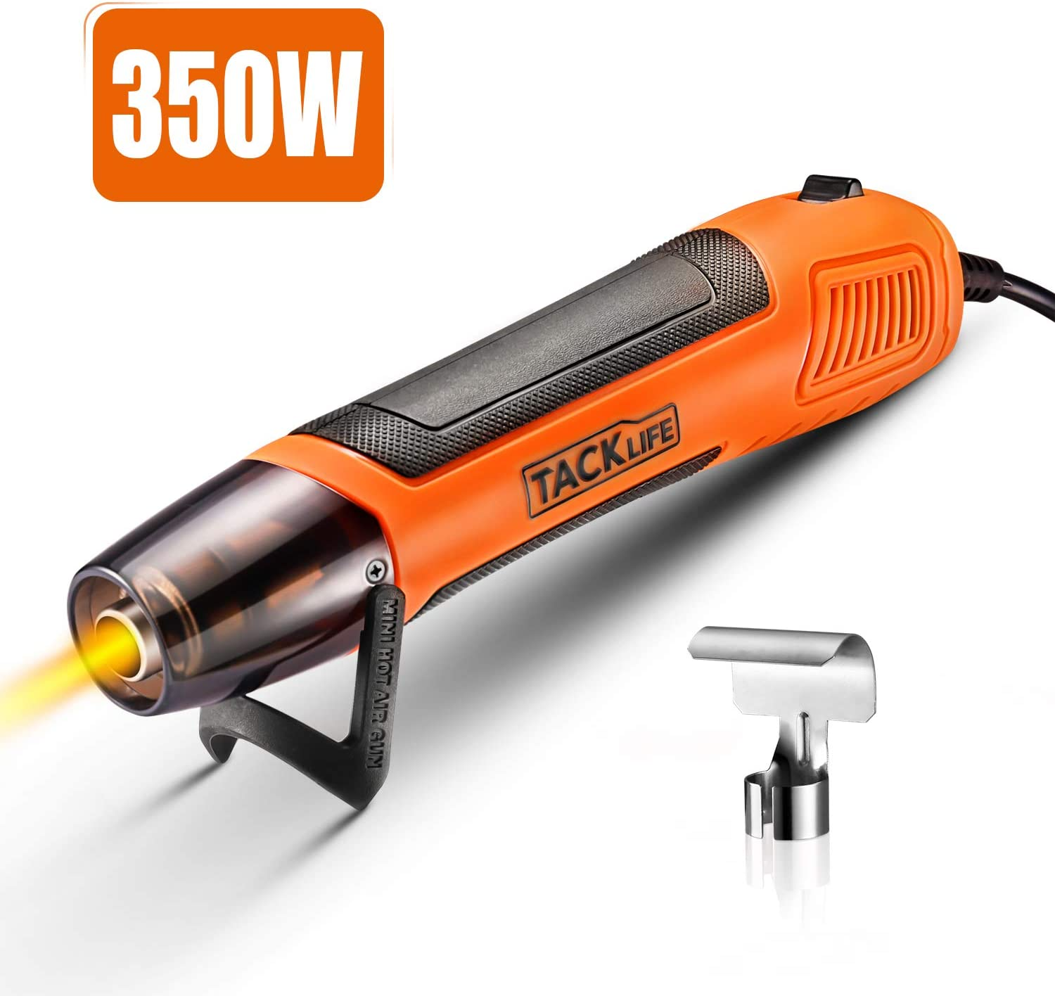 Mini Heat Gun, TACKLIFE 350W 662°F Handheld Hot Air Gun, 6.56Ft Ultra Long Cable for DIY Craft Embossing, Shrink Wrapping and Drying Paint- HGP35AC