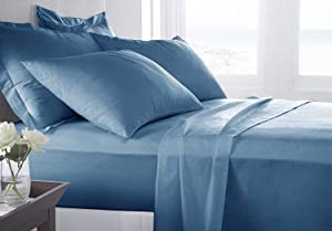 JVIN FAB Classic Bamboo Bed Sheet Set - Softest Eco Friendly - Cooling Sheets - Soft as Silk Bed Sheets and Pillow Cases - Lifetime Protection (Queen, Bahamas Blue)