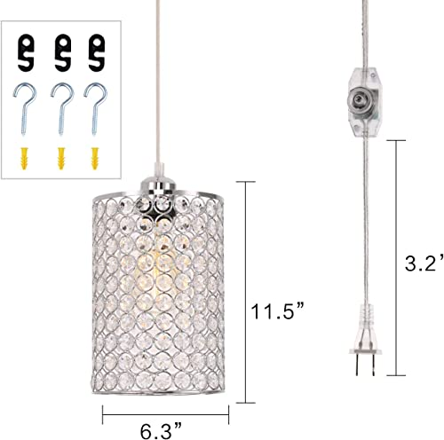 kingmi Plug-in Pendant Lights Dimmable Chandelier with ON Off Dimmer Switch and 16.4 Handing Cord, Chrome Cylinder Style for Bedroom Dining Room and More Round Pattern