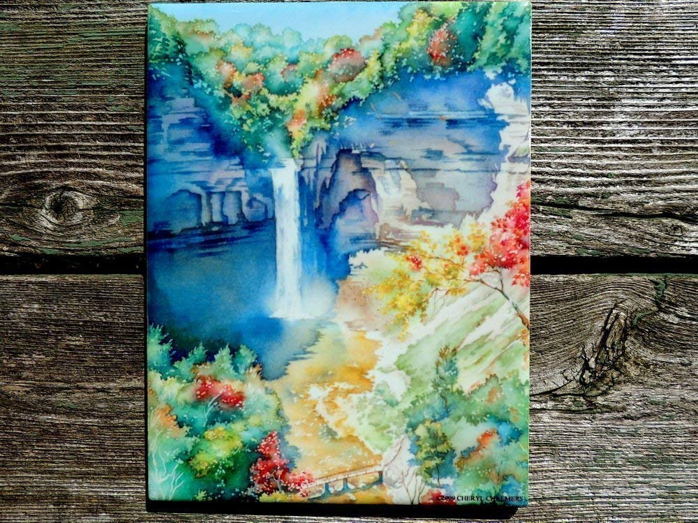 Finger Lakes Ceramic Tile Taughannock Falls Wall Art Watercolor Holiday Gift For Her