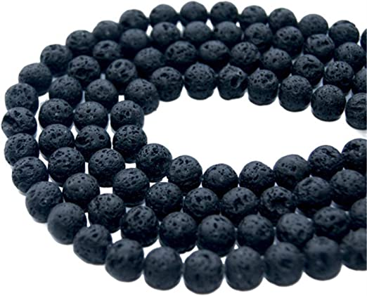 8 mm Tosnail 188 Pieces 4 Strands Black Natural Lava Gemstone Loose Beads Well Polished Round Beads Energy Stone Healing Power for Jewelry Making