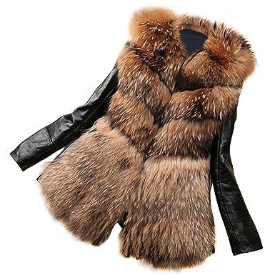 new concept b16df d816e Vlunt Fell Jacke Damen Winter Jacke Fellmantel Parka Kunstpelz Mantel Damen  Fellweste Weste Frauen Lederweste Gilet
