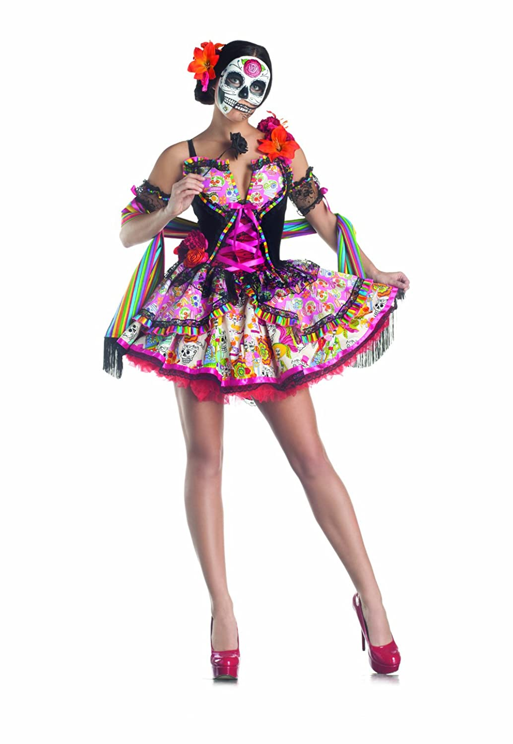 Amazon.com: Party King Day Of The Dead Women's Costume Set with ...
