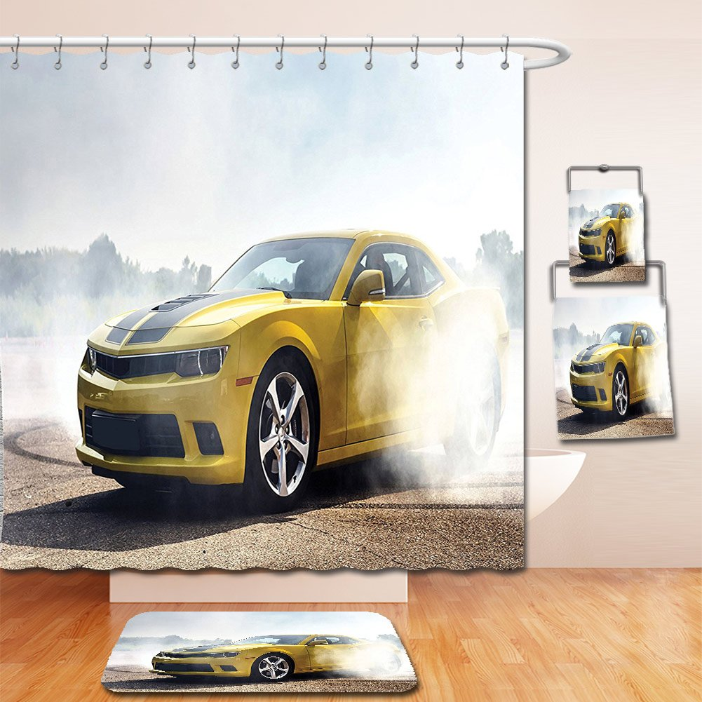 Nalahome Bath Suit: Showercurtain Bathrug Bathtowel Handtowel Cars Decor Racer Sports Car in the Course of Competition Drifting with Moving Wheels on Asphalt Win Photo Yellow