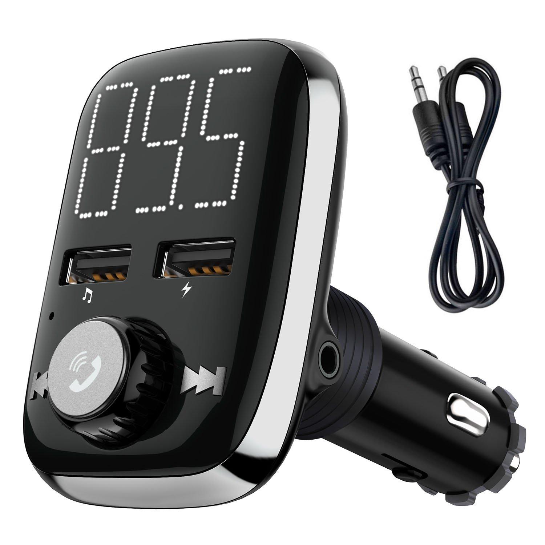CHGeek Bluetooth FM Transmitter 5V//2.1A KFZ Auto Lokalisierer Wireless mp3 Player Audio Radio Adapter freisprecheinrichtung mit 2 USB Ladeger/ät FM Transmitter LED Anzeige f/ür iOS und Android Ger/äte