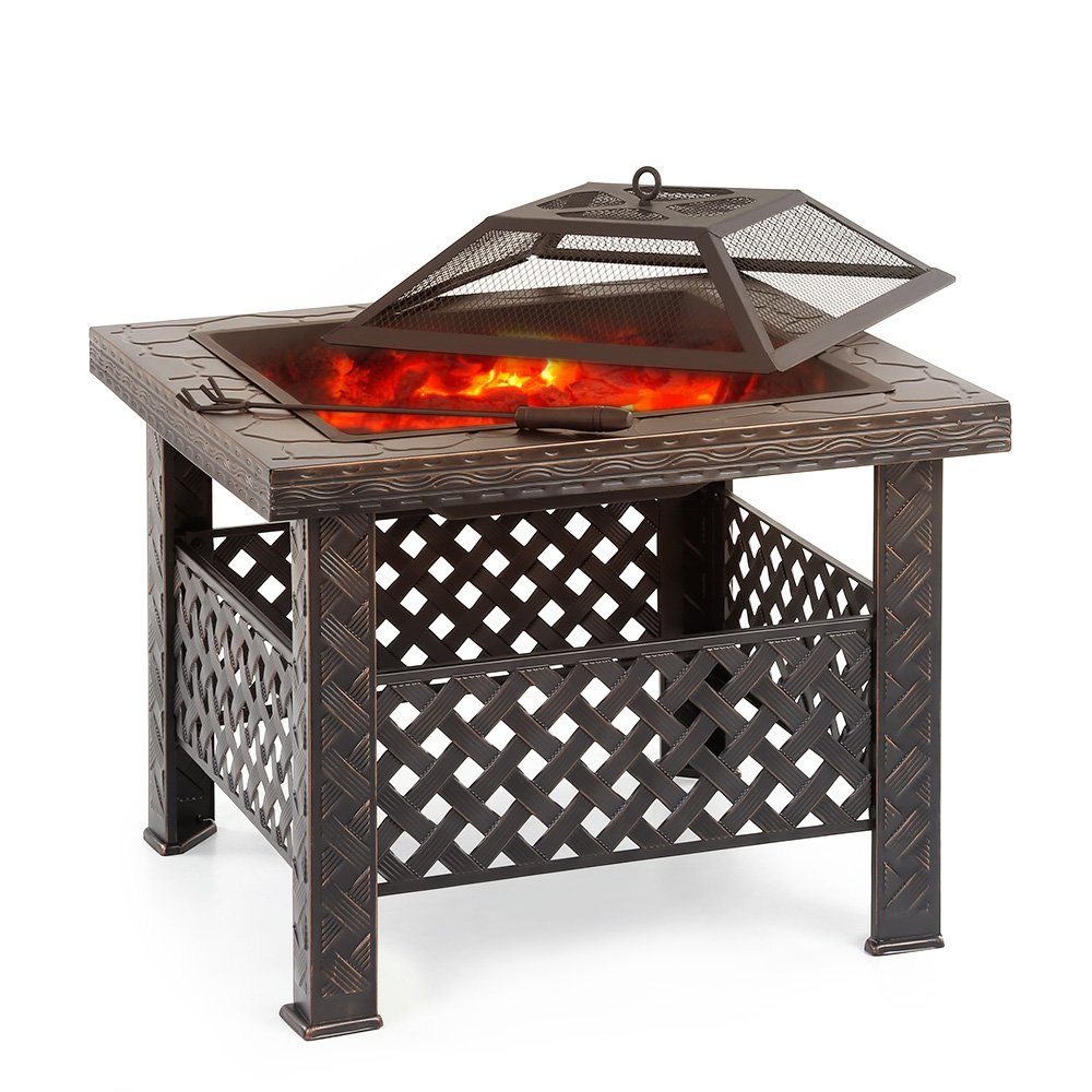 IKAYAA Outdoor Metal Fire Pit Backyard Garden Square Fire Pit Table
