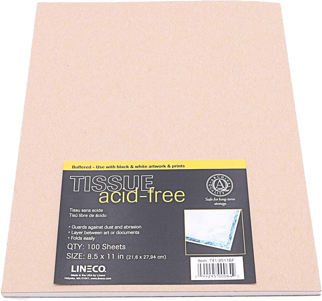 Protect and Separate Prints Unbuffered Interleaving Tissue Paper Acid-Free and Magazines Documents Pack of 12 Letters . Lineco 30 x 40 Inches Newspaper Prevent Harm To Your Products. Unbuffered