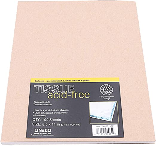 Lineco Acid Free Print Cover Buffered Tissue Paper Pack of 100 Sheets. 8x10