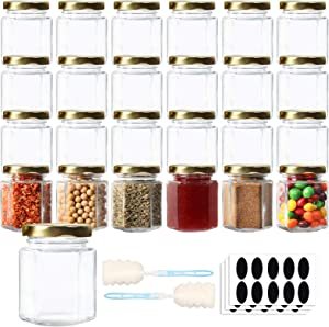 HWASHIN 24 Pack 3 oz Hexagon Glass Jars with Gold Lids, Honey Jars Small Spice Jars Mason Jars with 30pcs Labels and 2 Sponge Brushes for Jam, Baby Foods, Gifts, Wedding Party Favors