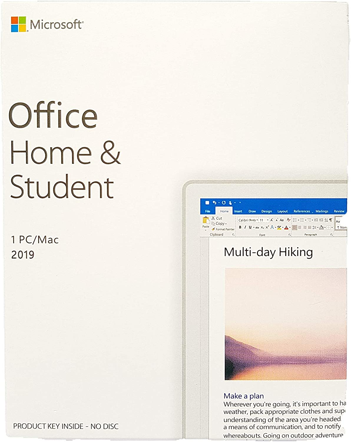 Office Home and Student 2019 for 1 PC or Mac License Key Box