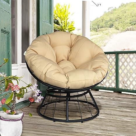 Deluxe 360 giratorio Papasan silla con suave cojín, al aire libre ...