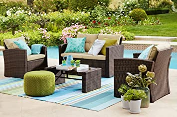 THY HOM Roatan 4 Piece Outdoor Wicker Conversation Set