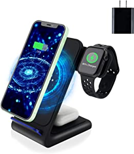 Wireless Charger,Amugpill 3 in 1 Fast Wireless Charging Station Dock for iPhone 12/12 Pro/12 Pro Max/11/11 Pro/X/Xr/Xs/8 Plus,Apple Watch SE 6 5 4 3 2,Airpods 2/Pro,Qi Phones (with QC3.0 Adapter)