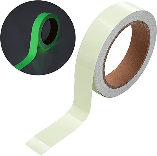 Meersee 2.5cm x 10M Cinta Autoadhesiva Etiqueta de Seguridad Resplandor Luminoso Fluorescente Verde Cinta Luminosa Adhesiva