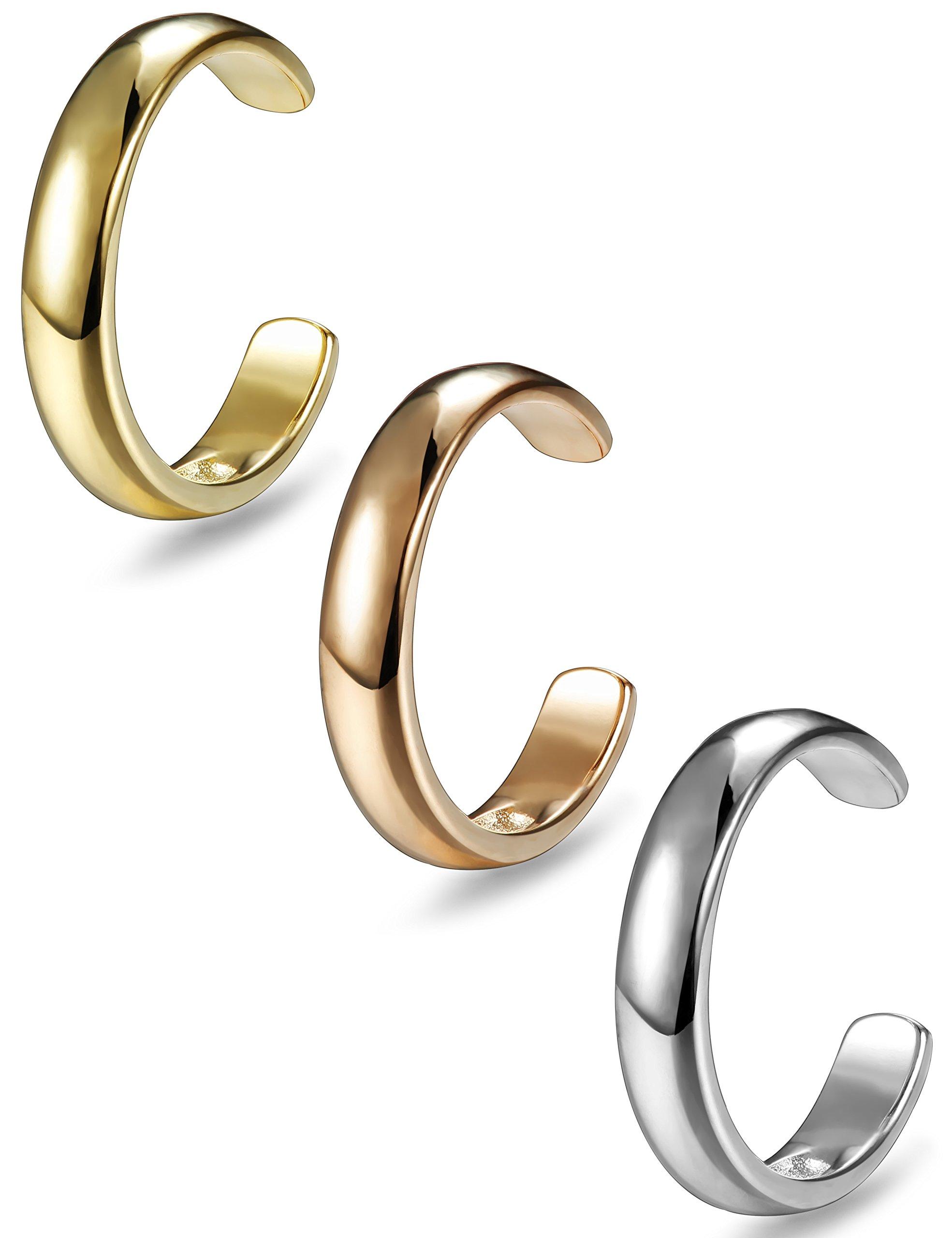 FIBO STEEL 3 Pcs Open Toe Ring for Women Adjustable Toe Ring Set,4MM (B: 3 Pcs a Set)