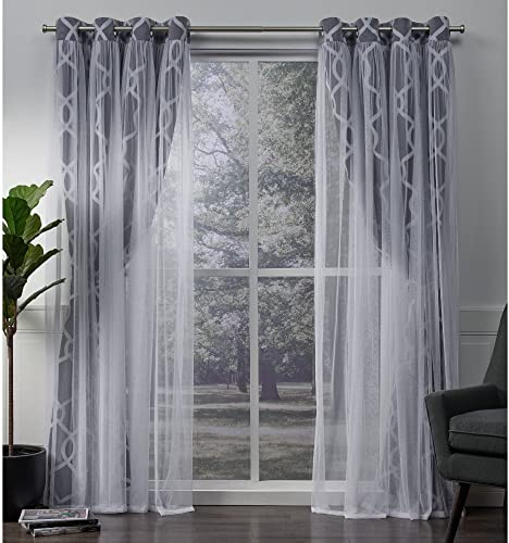 Exclusive Home Curtains Carmela Layered Geometric Blackout and Sheer Window Curtain Panel Pair with Grommet Top, 52×108, Indigo, 2 Piece