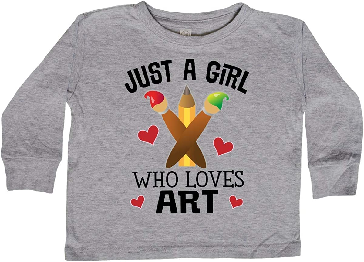 inktastic Artist Just a Girl Who Loves Art Toddler Long Sleeve T-Shirt