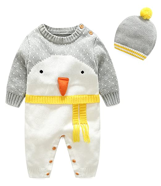 34996687fdeca Amazon.com: Kedera Baby Bunting Winter Knitted Bodysuit Warm Rompers ...
