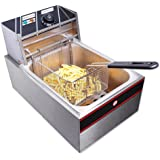 ReaseJoy 6 Litre 2500W Commercial Electric Countertop Stainless Steel Single Tank Deep Fryer Restaurant