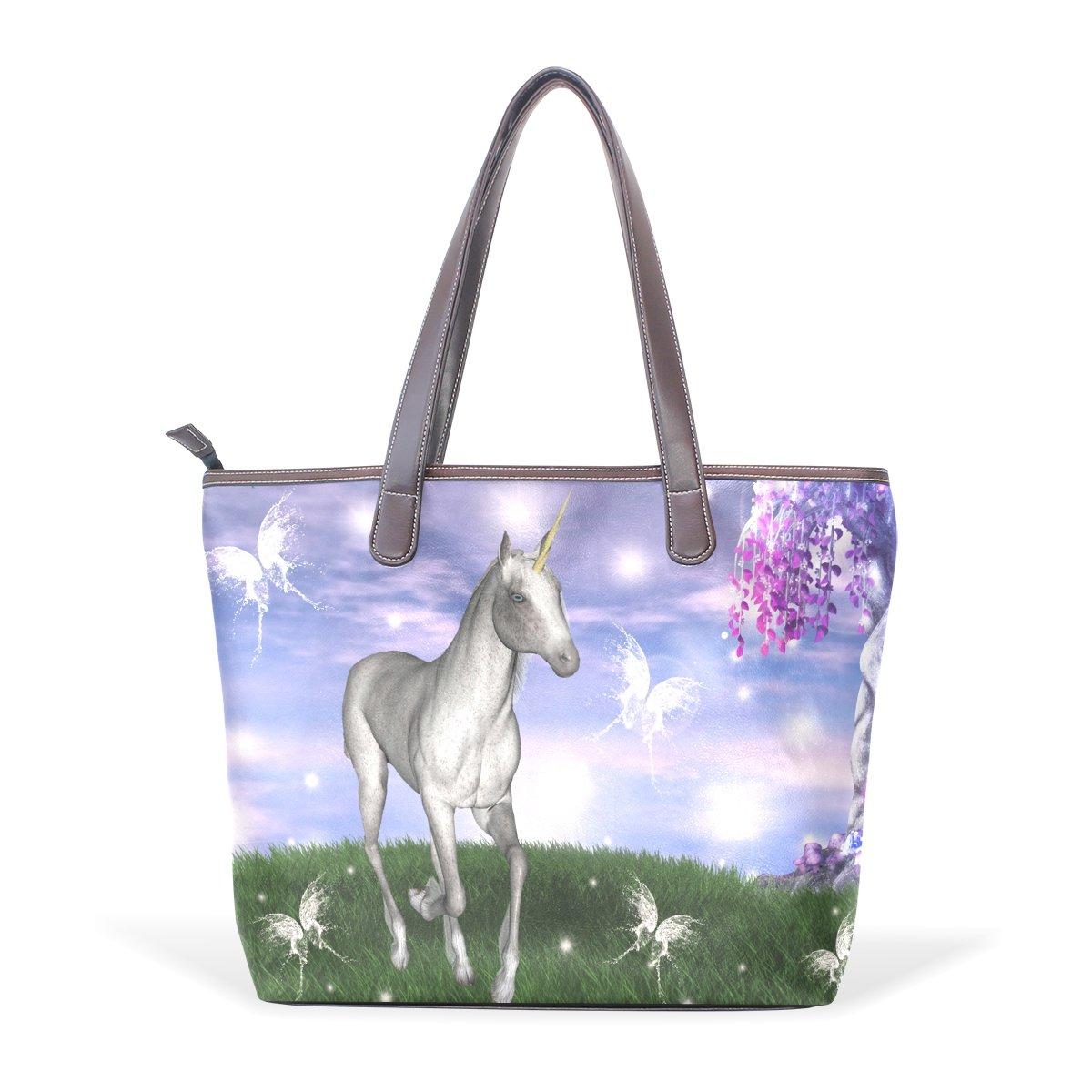 Sunlome Unicorn In An Enchanted Meadow Pattern Handbags For Women Girls PU Leather Shoulder Tote Bag