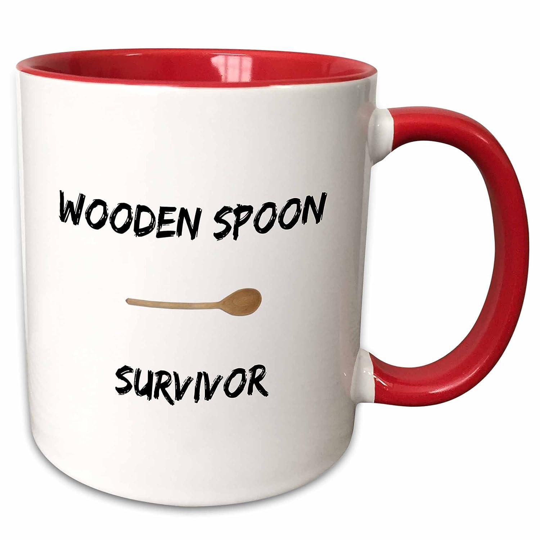 3dRose 221884/_5 Wooden spoon survivor Ceramic Mug Red//White 11oz