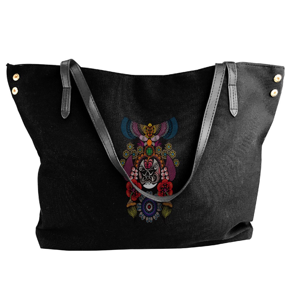 Chinese Opera Tote Bag For Women Canvas Shoulder Handbags