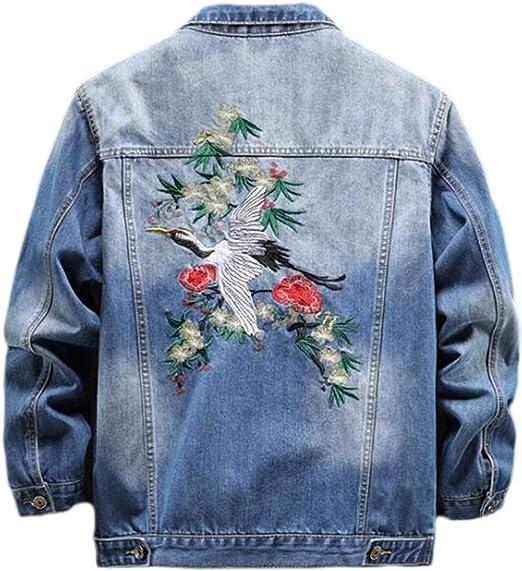 中国の刺繍「クレーン」メンズデニムジャケット、メンズデニムジャケット春と秋の緩いプラスサイズトップ