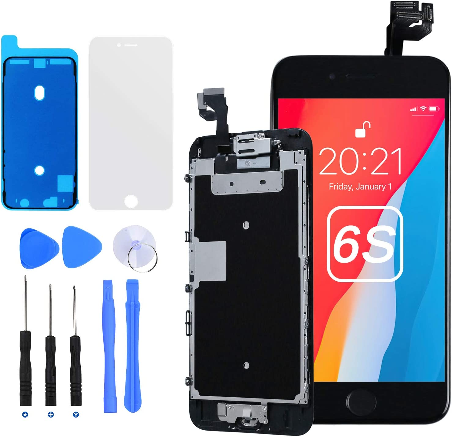 E-SUNG Trade for iPhone 6S Screen Replacement Complete LCD Display 3D Touch Digitizer Screen for A1633 A1688 A1691 A1700 with Full Assembly Repair Tools Home Button Proximity Sensor Earpiece Speaker