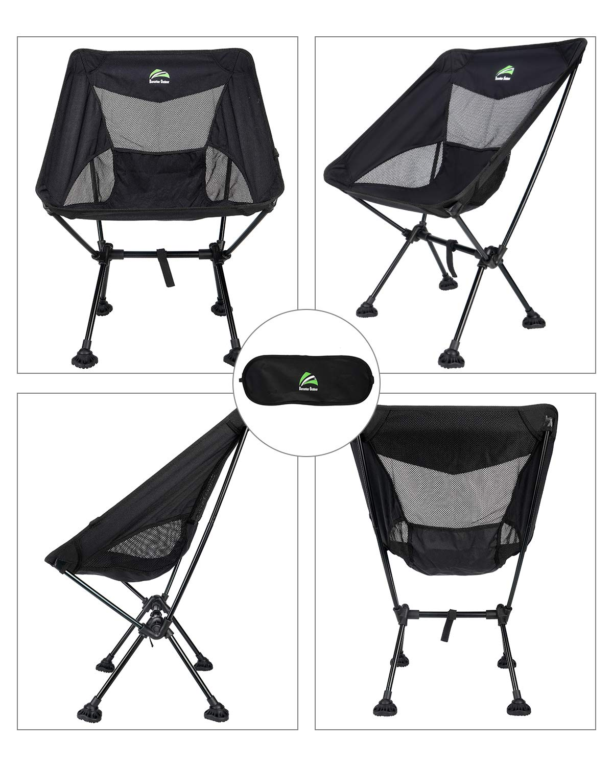 BERSERKER OUTDOOR Ultralight Compact Folding Camping Chairs Portable Lightweight Backpack Hiking Chair with All-Terrain Large Feet Heavy Duty 300lbs for Outdoor Camp, Beach, Picnic, Travel