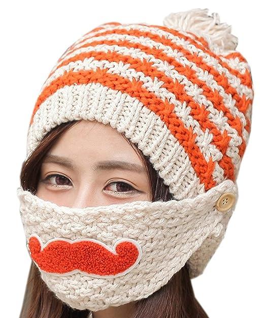Kafeimali Women Winter Knit Stripe Beard Masks Skull Caps Slouch Beanie Hats  (Beige) 8666573ba