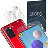QHOHQ 2 Pack Screen Protector for Samsung Galaxy A21S with 2 Packs Camera Lens Protector, Tempered Glass Film, [9H Hardness]